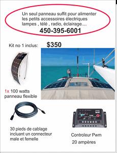 Kit panneau solaire FLEXIBLE 100 à 200 watts: bateaux, voilier