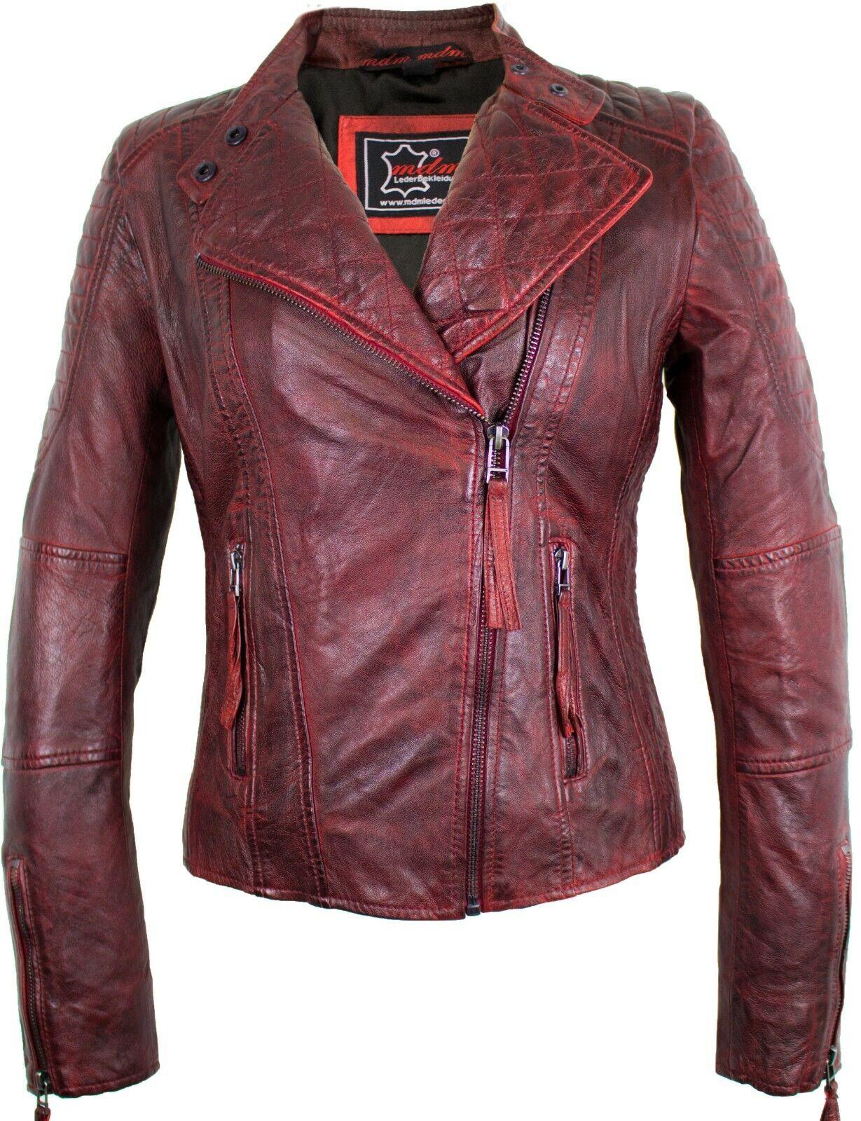 Damen Lederjacke aus echtem Lammleder Biker Jacke Look Slim Fit Rocker