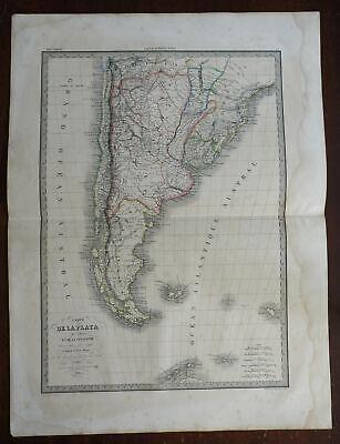 La Plata Patagonia Uruguay South America 1842 Brue large detailed map hand color