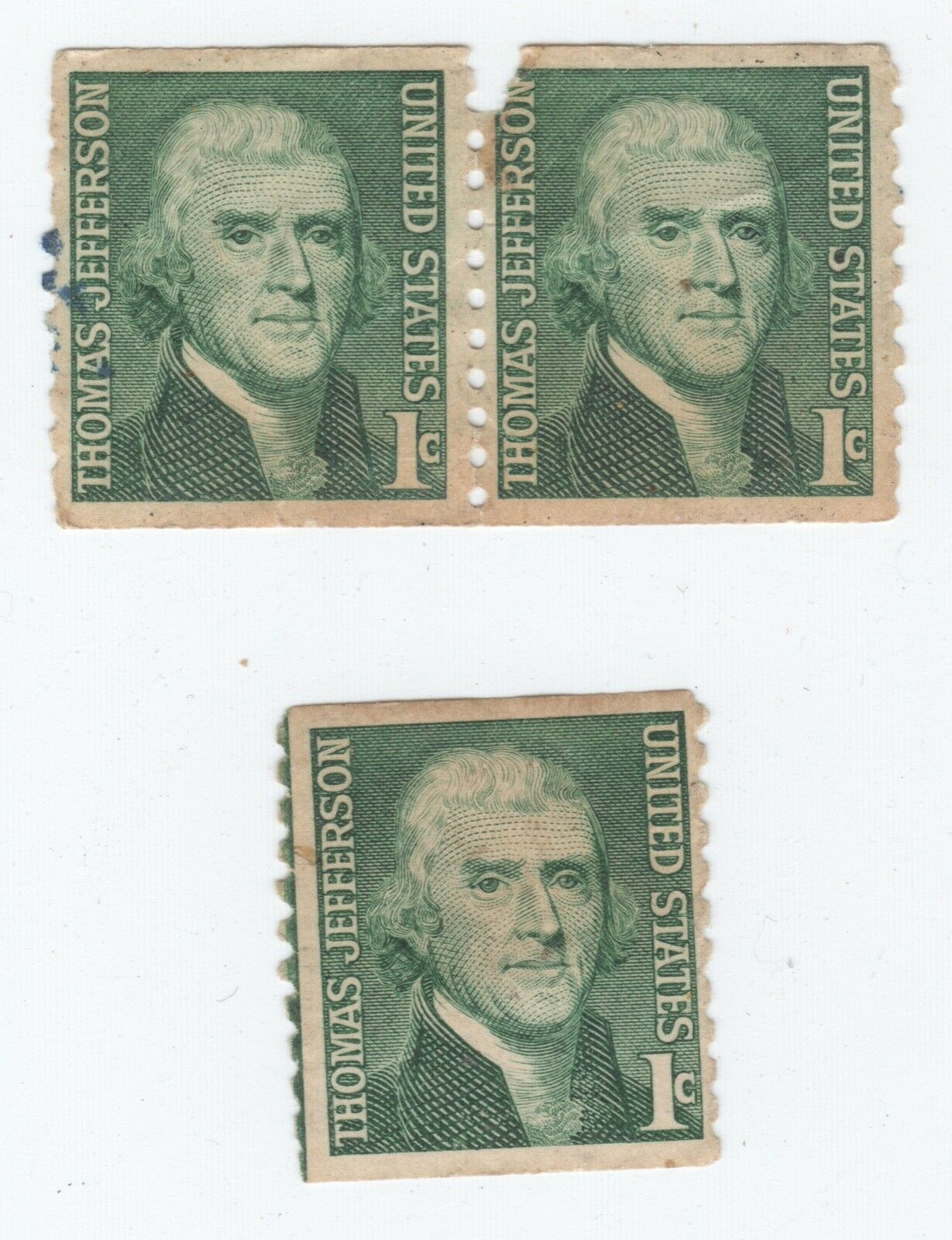 Thomas Jefferson 1 Cent Green Stamps - 1 Single 2 Joined - $2.99