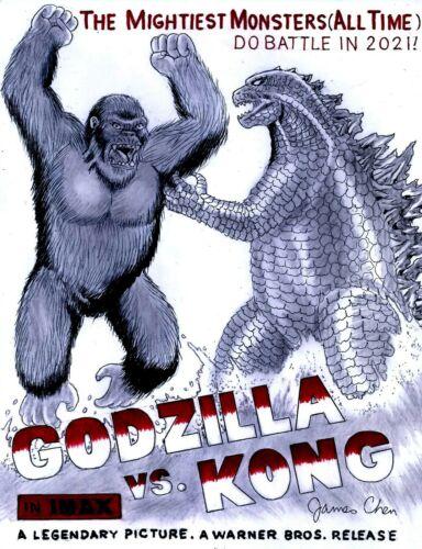 GODZILLA VERSUS KONG ORIGINAL COMIC ART COLOR SKETCH ON CARD STOCK