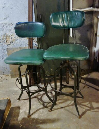 Pair Original Vintage Toledo Drafting Chairs Covered Seat Frederick Post USA