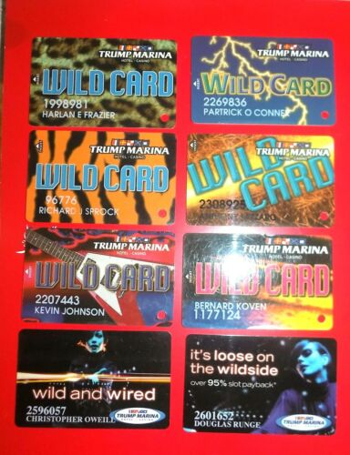 8  SLOT PLAYERS CARDS FROM TRUMP MARINA A.C. CASINO WILD CARD PROMO