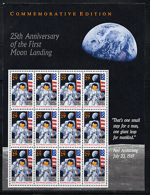 FIRST MOON LANDING ** 1969 APOLLO 11 * US POSTAGE FULL SHEET MINT * WITH QUOTE