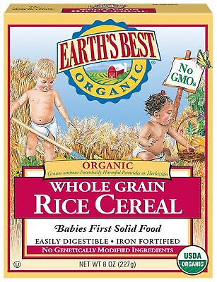 Earth's Best Organic Infant Cereal, Whole Grain Rice, 8 oz. Box Cereal 8 Oz Box