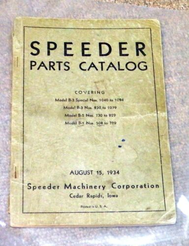 VINTAGE CONSTRUCTION SPEEDER MACHINERY CORP. PARTS CATALOG CEDAR RAPIDS IOWA
