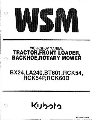 Kubota Bx24 Tractor Loader Backhoe Mower Workshop Service Manual 9y011-13571