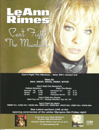 LeANN RIMES & CHRIS ISAAK Rare 2002 PROMO TRADE AD Poster for Need & always CD