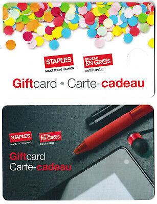 gift cards STAPLES 💻🪑🖶 BUSINESS DEPOT BUREAU EN GROS Canada collectible card