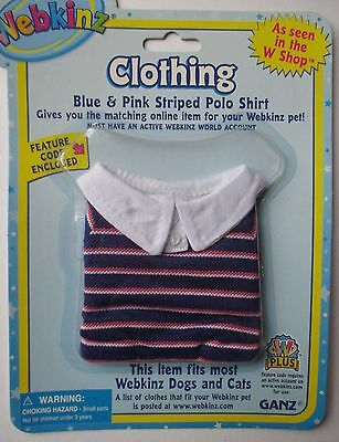 x Blue Pink striped Polo shirt fits most WEBKINZ cat dog pet CLOTHING new code