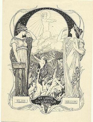 Musen Exlibris Franz Stassen Klio/Kalliope nude people German Art Nouveau