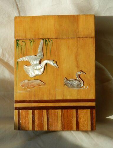 Vertical Vintage Japanese Box ~ Inlaid Wood Parquetry Stash Trinket Cigar