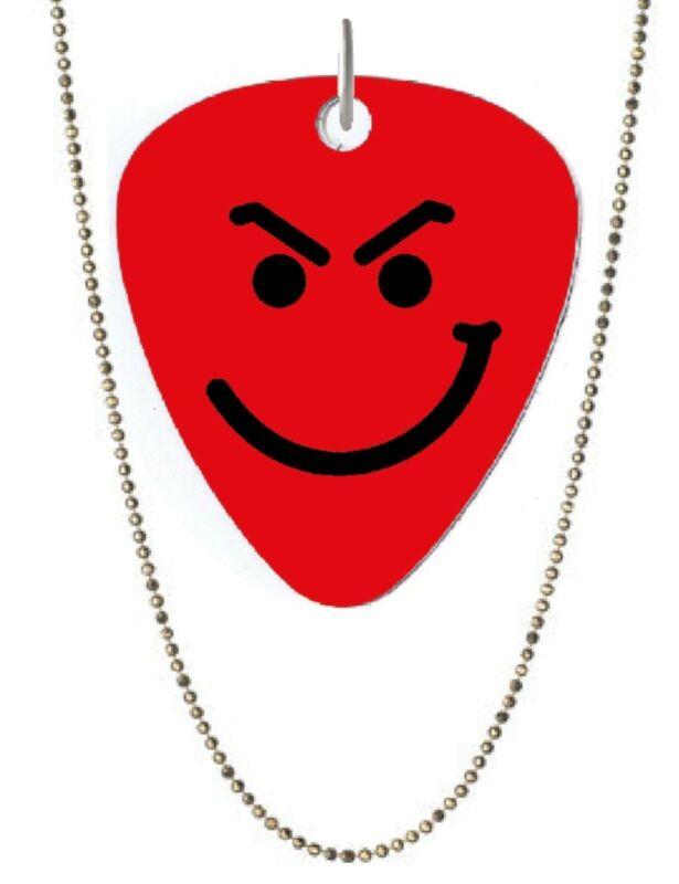 Bon Jovi Smirky Guy Logo Double Sided Color Guitar Pick Shaped Necklace NEW