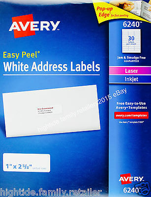 Avery White Address Labels 6240 Easy Peel 1 X 2 58 In 1050 2100 Or 4200 Count