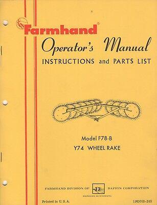 Farmhand Y74 Wheel Rake F78-b Operators And Parts Manual 397