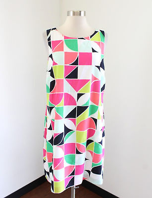 Crown and Ivy Geometric Color Block Shift Dress Size 14 Sleeveless Pink Green ()
