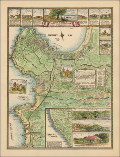 Monterey Pebble Beach Carmel by the Sea 1933 Peter Pan Lodge pictorial map 0056