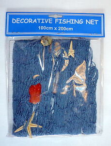 Filet de p che d coratif coquillages bleu 100x150 cm for Filet de peche decoration