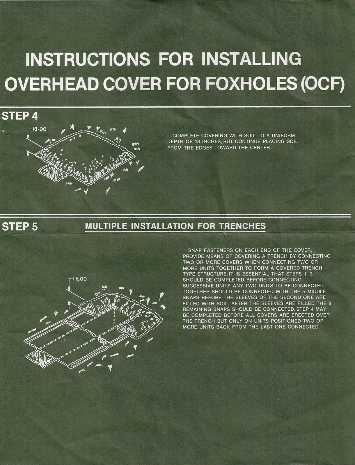 NEW GENUINE USGI FOXHOLE COVER OVERHEAD COVER FOR FOXHOLES (OCF)
