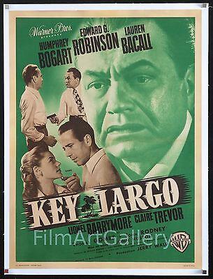 KEY LARGO '49 poster Humphrey Bogart Lauren Bacall Edward G Robinson John Huston