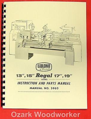 Leblond Regal 13 15 17 19 Lathe Manual 3903 0431