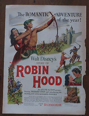 Original Print Ad 1952 ROBIN HOOD Walt Disney's Movie Promo