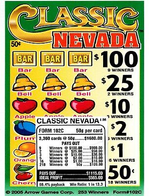 50c 3360 CLASSIC NEVADA CLUB 5W 50c Pull Tab 9-$100's