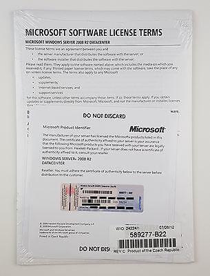 MS Windows Server 2008 Datacenter R2 64 Bit 2 CPU DVD HP ROK Englisch 589277-B22 ()