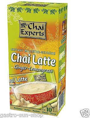Chai Experts Instant Milchtee-Getränk Chai Latte Ginger Lemongrass 10 x 26g Tee