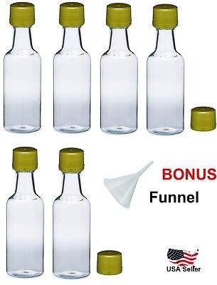 Mini empty plastic alcohol liquor bottles shots 50ml gold caps funnel - Shot Bottles