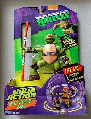 NEW TMNT Ninja Action Strikin' Mikey 2014 Playmates Nickelodeon Michelangelo