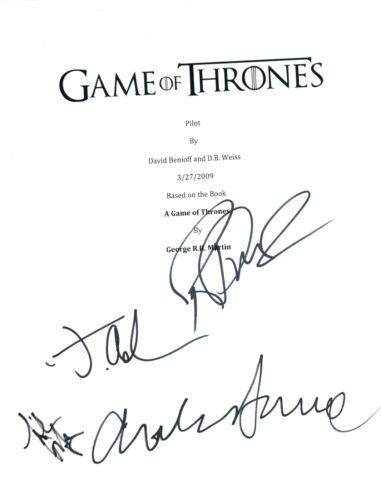 GAME OF THRONES Cast Signed Pilot Script x4 R Dormer Gillen Anderson Dance COA