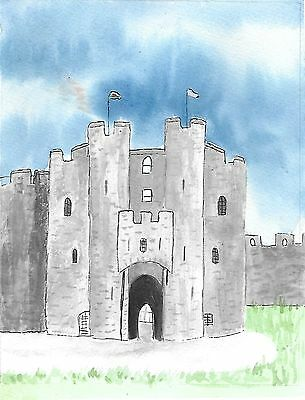 Original mounted watercolour painting - The Keep Pembroke Castle 10x12