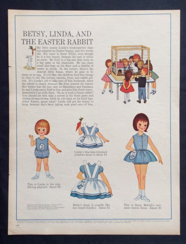Vintage Betsy McCall Mag. Paper Doll, Betsy McCall and the Rabbit, March1963
