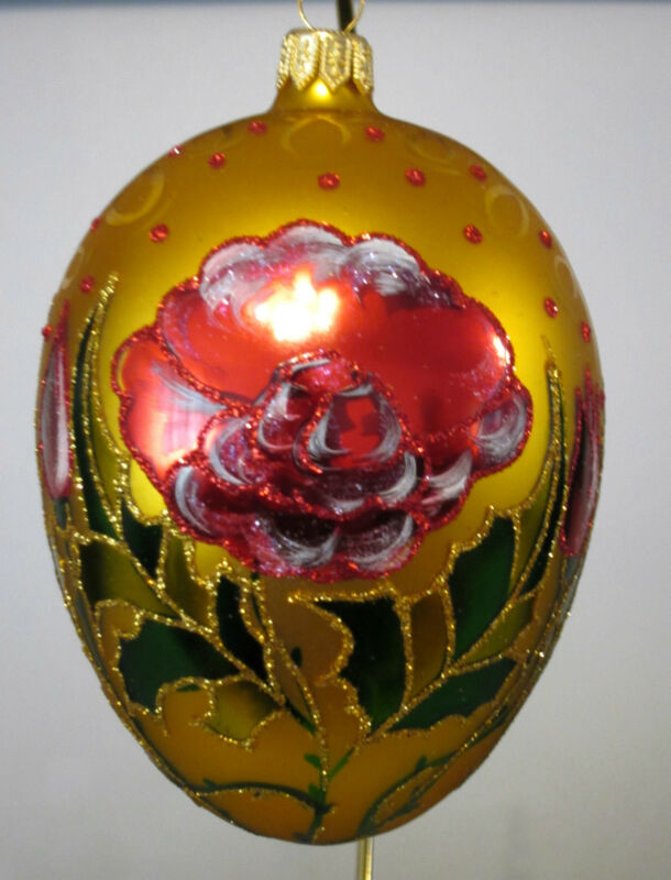 Red Flower On Yellow Egg  Glass EASTER/Christmas Ornament, NEW, Poland