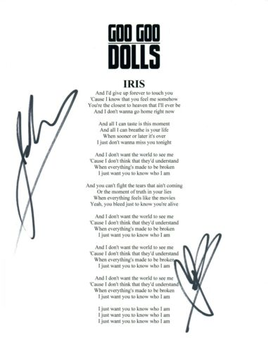 GOO GOO DOLLS Signed Autographed IRIS Lyric Sheet John Rzeznik Robby Takac COA