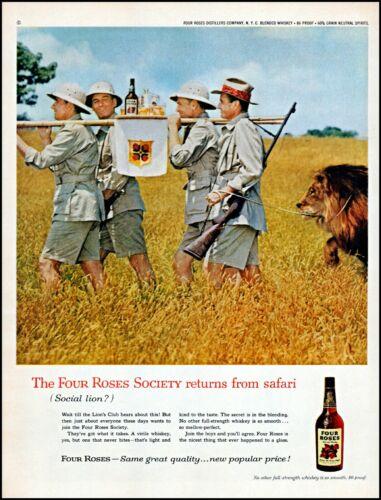 1960 African safari lion hunters Four Roses whiskey retro photo print ad adl75