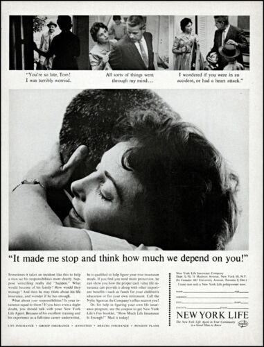 1962 couple hugging kids New York life insurance retro photo print ad adl76