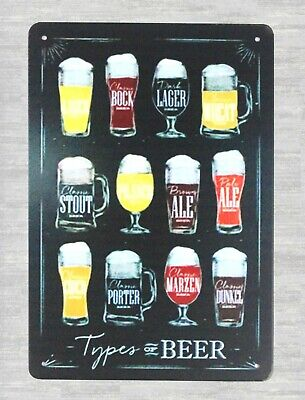 US Seller- wall hanging decoration plaque Types of Beer bar pub tin metal sign](Types Of Decoration)
