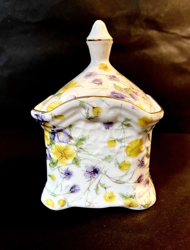"Vintage Chinz Porcelain Ceramic Lilacs and Yellow Pansies Trinket Box 4.5""x 3"""