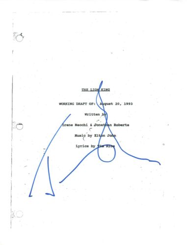Jeremy Irons Signed Autographed THE LION KING Full Movie Script COA