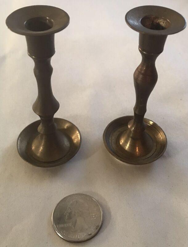"Vintage Brass Dollhouse Miniature Candle Sticks 3 1/4"" Tall"