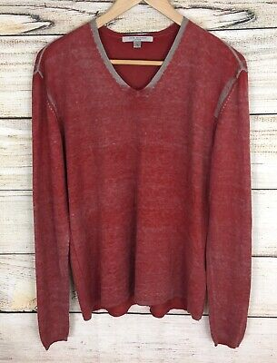 Mens V-neck Silk Sweater - John Varvatos Artisan Mens V Neck Silk / Cashmere Lightweight Red Sweater Medium