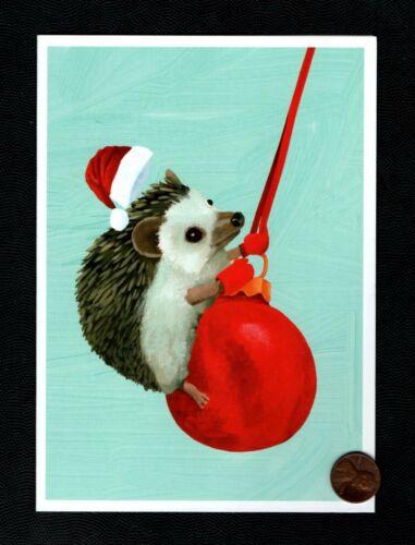 CHRISTMAS Hedgehog Santa Hat Red Ornament Swinging - Greeting Card - W/ TRACKING