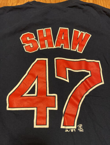 Boston Red Sox TRAVIS SHAW #47 Majestic Blue T-Shirt Mens ME