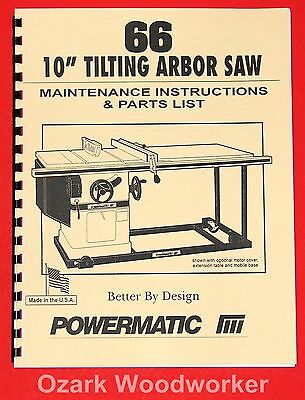 """POWERMATIC Model 66 10"""" Table Saw Instructions Parts Manuals 1010"""