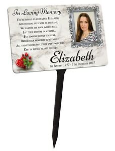 Your Photo Personalised Memorial Plaque & Stake. For Friend, family garden grave
