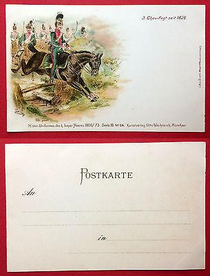 Militär Litho AK BAYERN um 1900 Ingenieur-Corps und Genie-Reg. Uniformen  ( 7853
