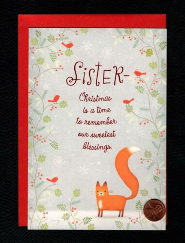 CHRISTMAS Fox Branches Red Cardinals  - FOR SISTER - Greeting Card W/ TRACKING