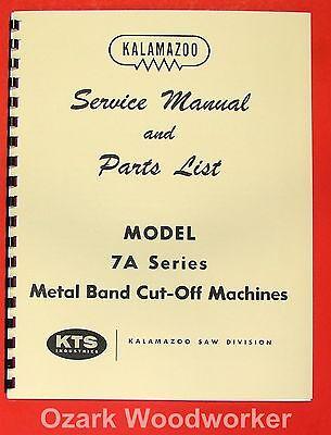 Kalamazoo 7a Metal Band Saw Service Parts Manual 0408